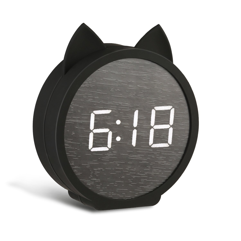 BOERA Alarm Clock for Kids Bedroom,Digital LED Wooden Alarm Clock Large Display Time Temperature USB/Battery Powered