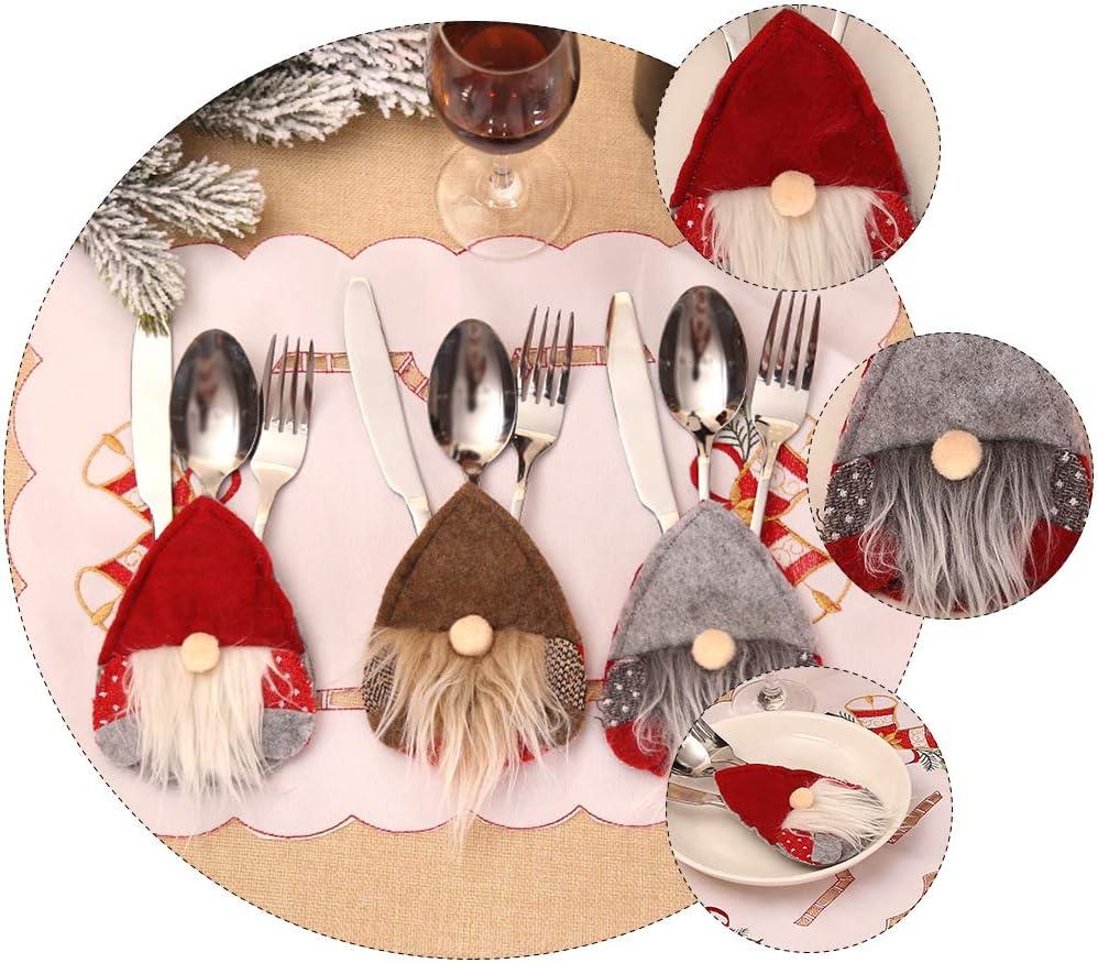 decorazione per la tavola di Natale 6 pezzi di portaposate di Natale PRETYZOOM rosso e grigio