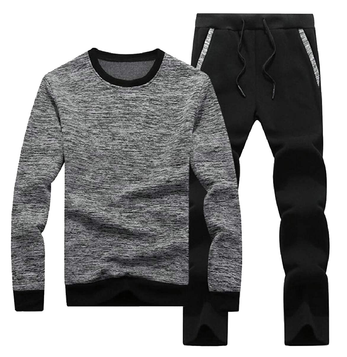 Grey US Small ZXFHZSCA Men's Casual Tracksuit Crew Neck Long Sleeve Jogging Athletic Sports Set