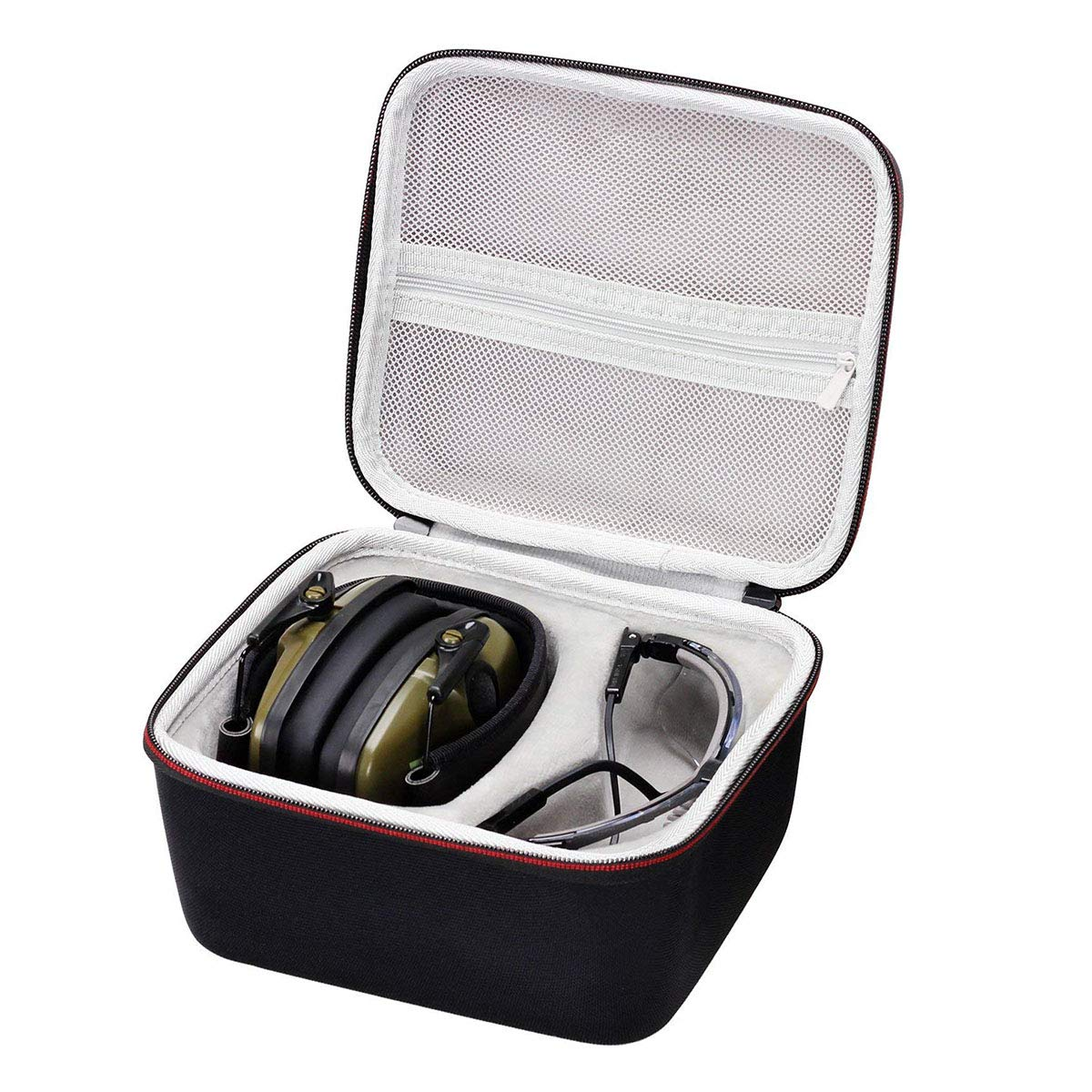 Asafez Hard Case for Howard Leight Honeywell Impact Sport Sound Amplification Electronic Shooting Earmuff and Genesis Sharp-Shooter Shooting Glasses