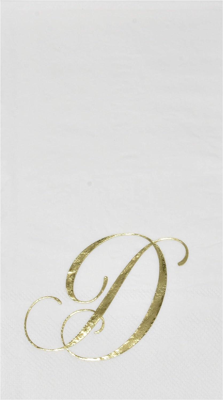 100 Gold Monogram Guest Napkins Letter D Disposable Paper Pack Elegant Metallic Golden Foil Dinner Hand Napkin for Bathroom Powder Room Wedding Holiday Birthday Party Baby Shower Decorative Towels
