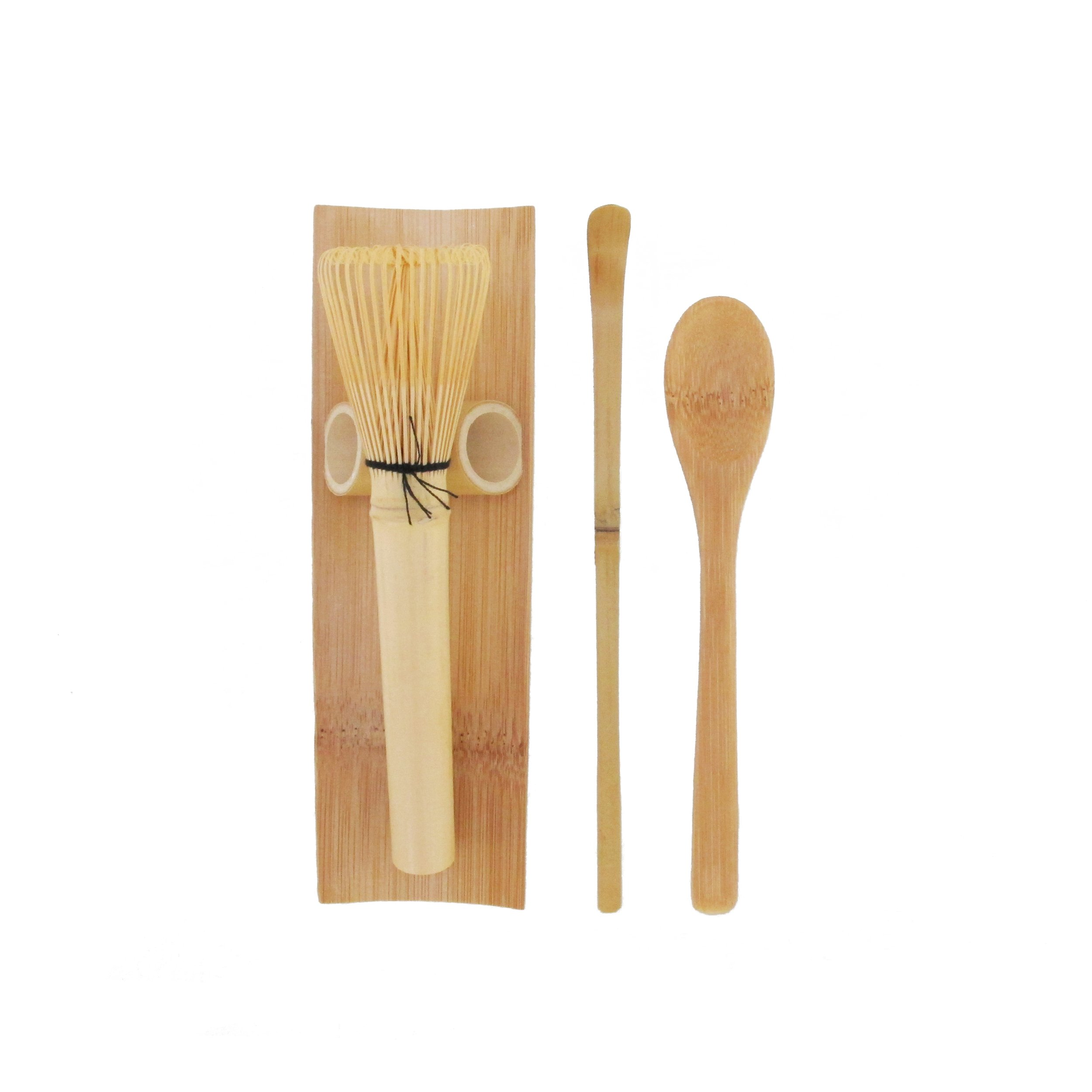BambooMN Matcha Whisk Set - Skinny Golden Chasen (Tea Whisk), Tray, Chashaku (Hooked Bamboo Scoop), Tea Spoon - 1 Set by BambooMN