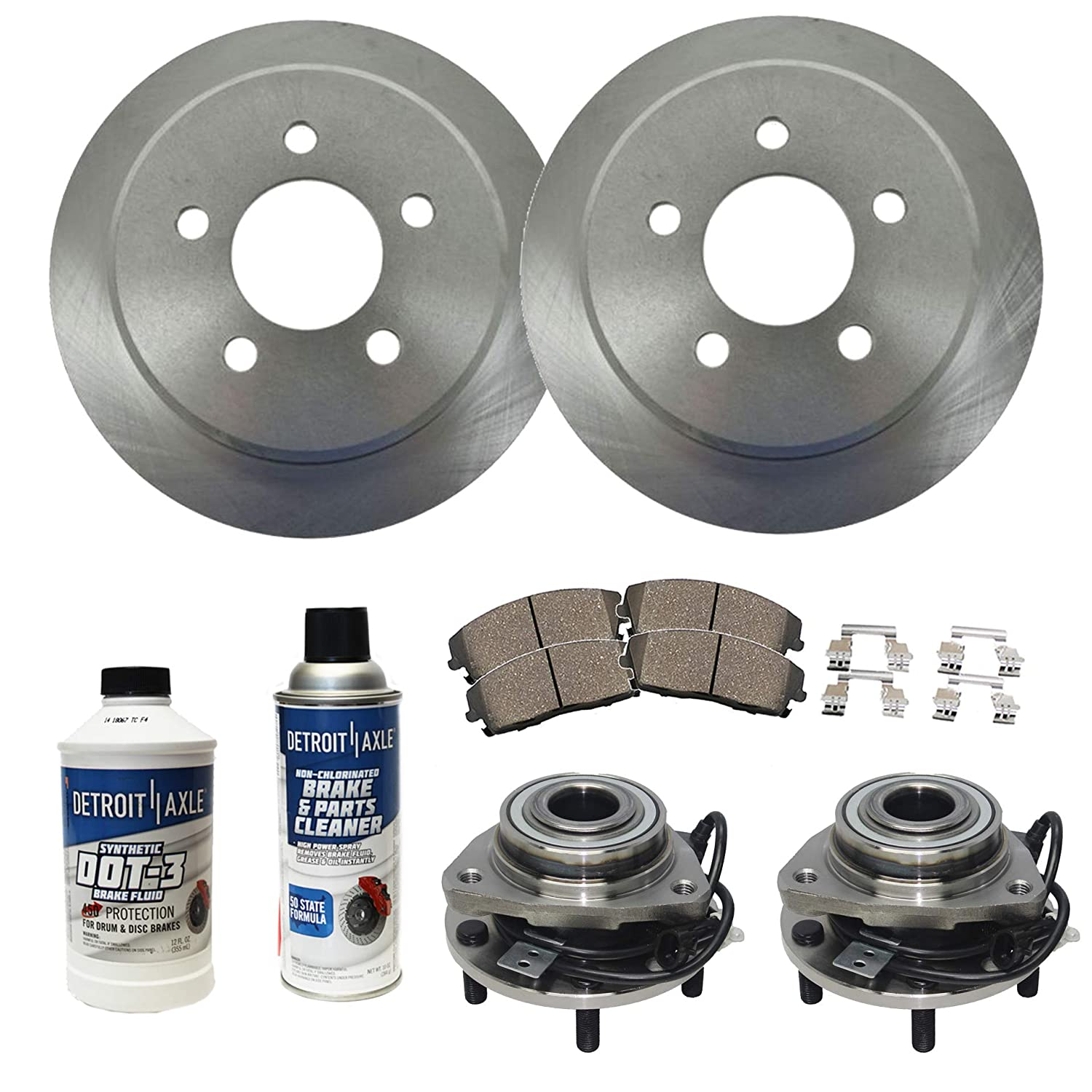 Detroit Axle - Both Front Wheel Bearing & Hub Assembly, Disc Brake Rotors,  Ceramic Pads w/Hardware & Brake Cleaner Fluid for 98-05 Chevy S10 Blazer -