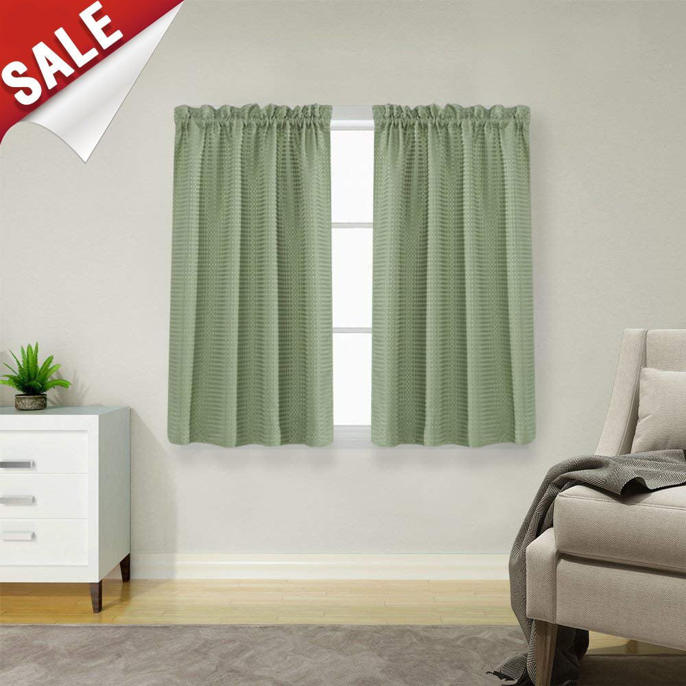 Waffle-Weave Textured Tier Curtains for Kitchen Water-Proof Window Curtains for Bathroom(72-inch x 45-inch, Sage, Set of Two)