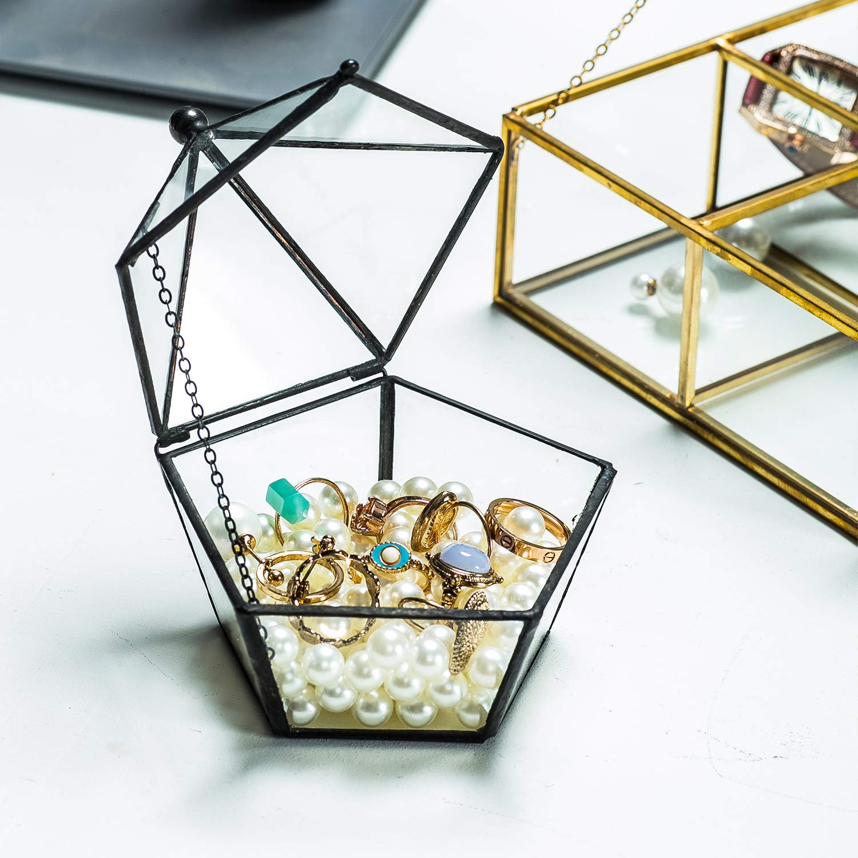 Black Vintage Mosaic Glass Lidded Box Edge Bracelet Keepsake Decorative Jewelry Display Pentagon-Shape Personalized Large Clear Rectangle Box Rings Bracelet Organizer Home Decor