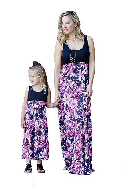 db33b778a5 Mother Daughter Floral Sleeveless High Waist Patchwork Family Matching Boho Long  Maxi Dress Party Holiday Sundress