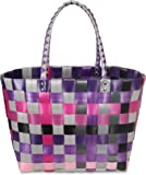 normani® Einkaufstasche Shopper geflochten aus Kunststoff - robuster Strandkorb Vintage Style 38cm x 25cm x 28cm