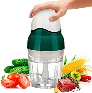 Food Processor,Mini Food Processor & Blender Food Processor,Chopper Strong Container Bowl 2.5 Cup 200 Watt Fast Speed Meat Grinder & Vegetables Chopper for Meat Garlic Onion Salad,Baby Food Processor,Green