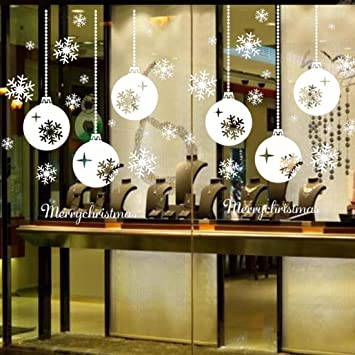 Mingfa Christmas Snowflake Wall Stickers Reusable Christmas Decoration Window  Stickers Glass Stickers for Bedroom Living Room
