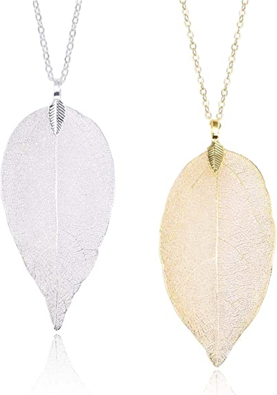 Classy Silver Tone Leaf Pendant Beaded Extra Long Necklace