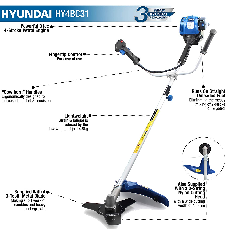 Hyundai 31cc 4 Stroke Petrol Grass Strimmer Trimmer Brushcutter Running Two Engine Diagram Hy4bc31 Diy Tools