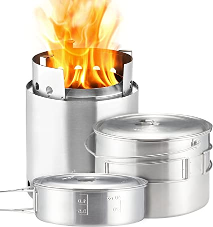 Portable Camping Survival Kit Burning Stove and Cooking Pot Set for Hiking