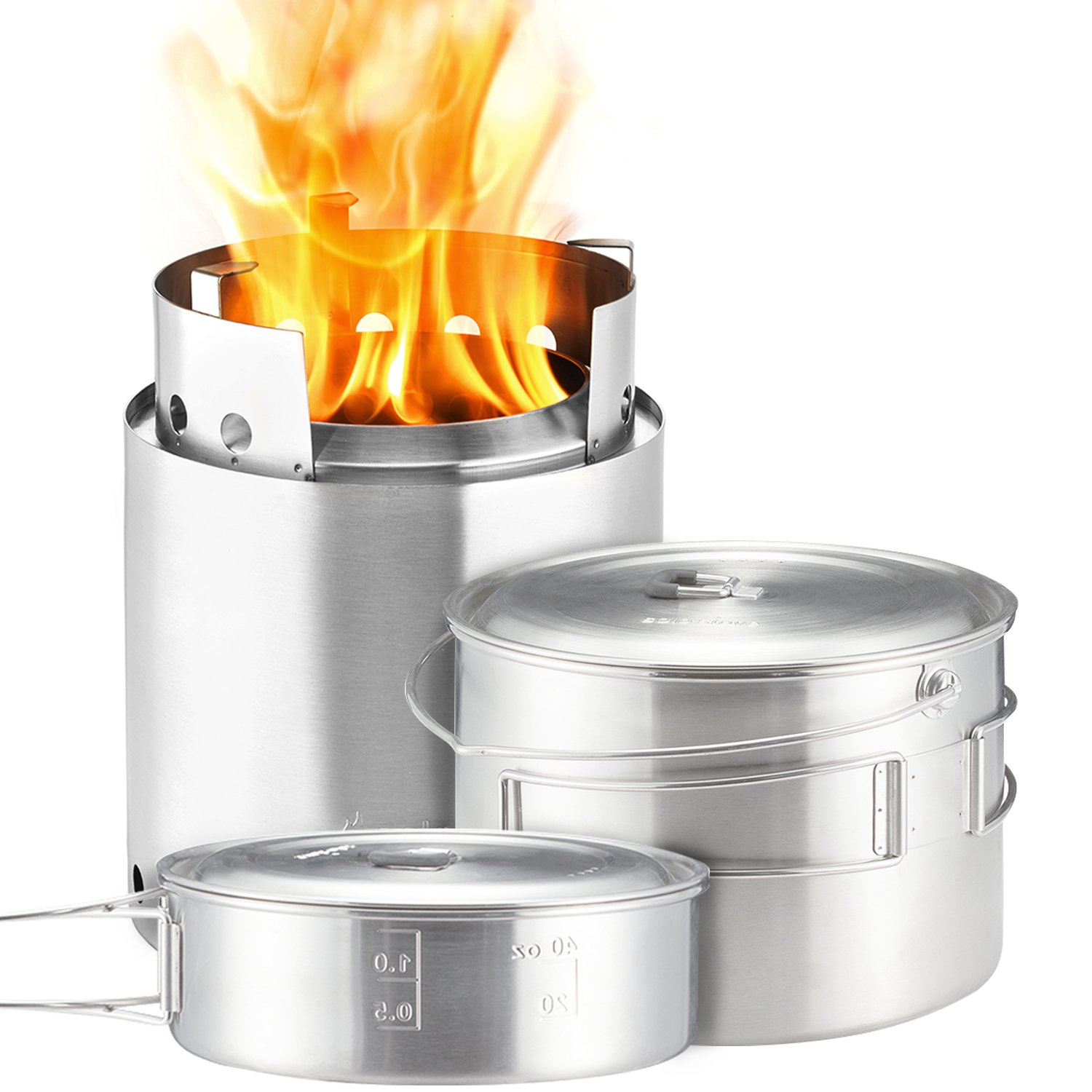 Solo Stove Campfire & 2 Pot Set Combo: 4+ Person Wood Burning Camping Stove. Outdoor Kitchen Kit for Backpacking, Camping, Survival. Burns Twigs - NO Batteries or Liquid Fuel Gas Canister Required.