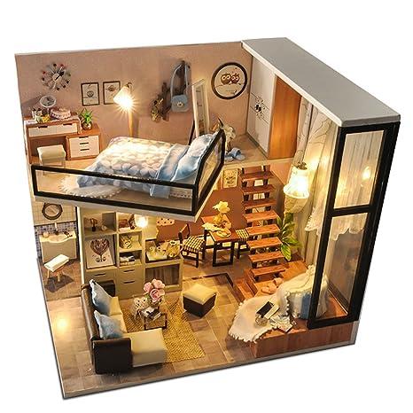 Amazon Com Kitspro Diy Miniature Dollhouse Kit Dust Proof Cover 1
