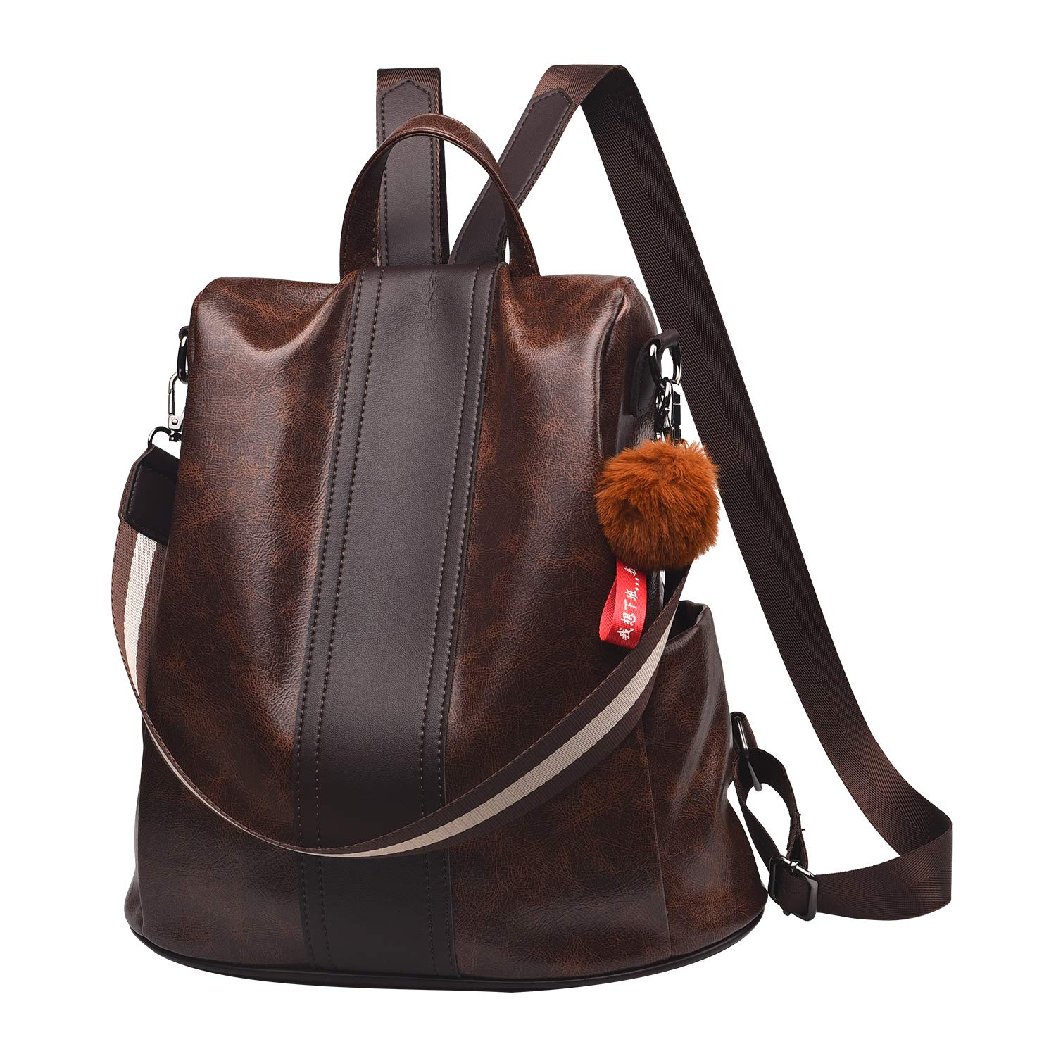 Women Backpack Purse PU Leather Anti-theft Backpack Casual Satchel School Shoulder Bag for Girls(Brown)