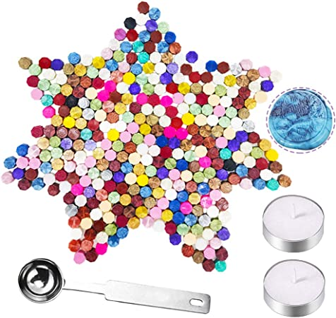 300Pcs Octagon Sealing Wax Beads 34 Colors with 1 Piece Wax Melting Spoon for Wax Stamp Envelope Sealing Green