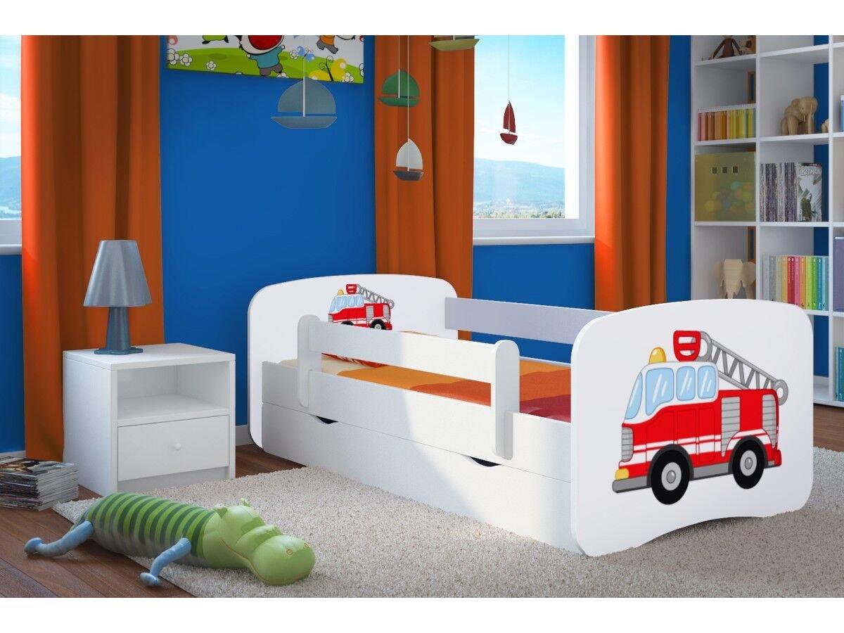 el mas de moda CARELLIA Cama Infantil Infantil Infantil Bomberos 80 x 180 cm con Barriere Zapatillas de + somier + cajones Incluye colchón. – Color Blanco  descuento