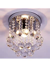 Ceiling light fixtures amazon lighting ceiling fans zeefo crystal chandeliers light mini style modern dcor flush mount fixture with crystal ceiling lamp aloadofball Images