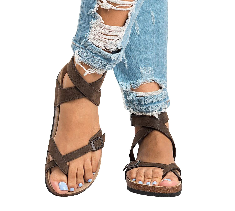 Shele Womens Flat Gladiator Cross Toe Ankle Strap Cork Sole Buckle Flip Flops Sandals
