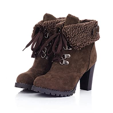 Fashion Women's Booties Winter Warm Fur Lined Lace Up Chunky High Heel Snow Boots