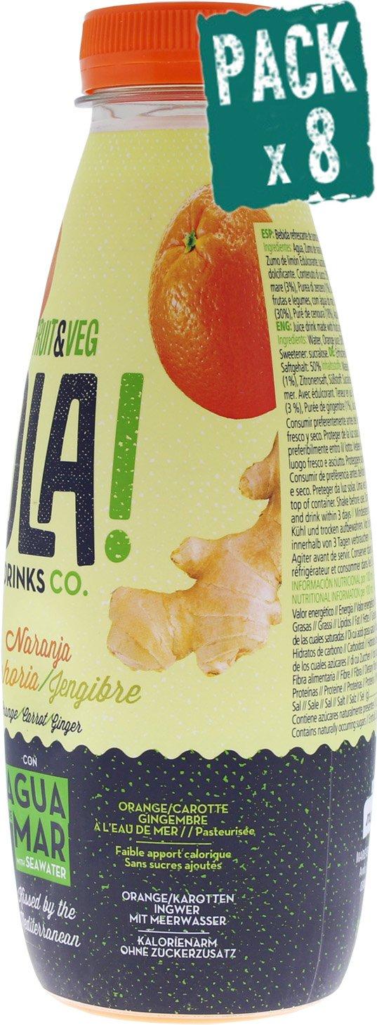 Pack de 8 Bebida refrescante con agua de mar OLA!, sabor de Naranja, Zanahoria y Jengibre, refresco con un contenido en zumo del 50%, bajo en calorías y sin azucares añadidos. 500