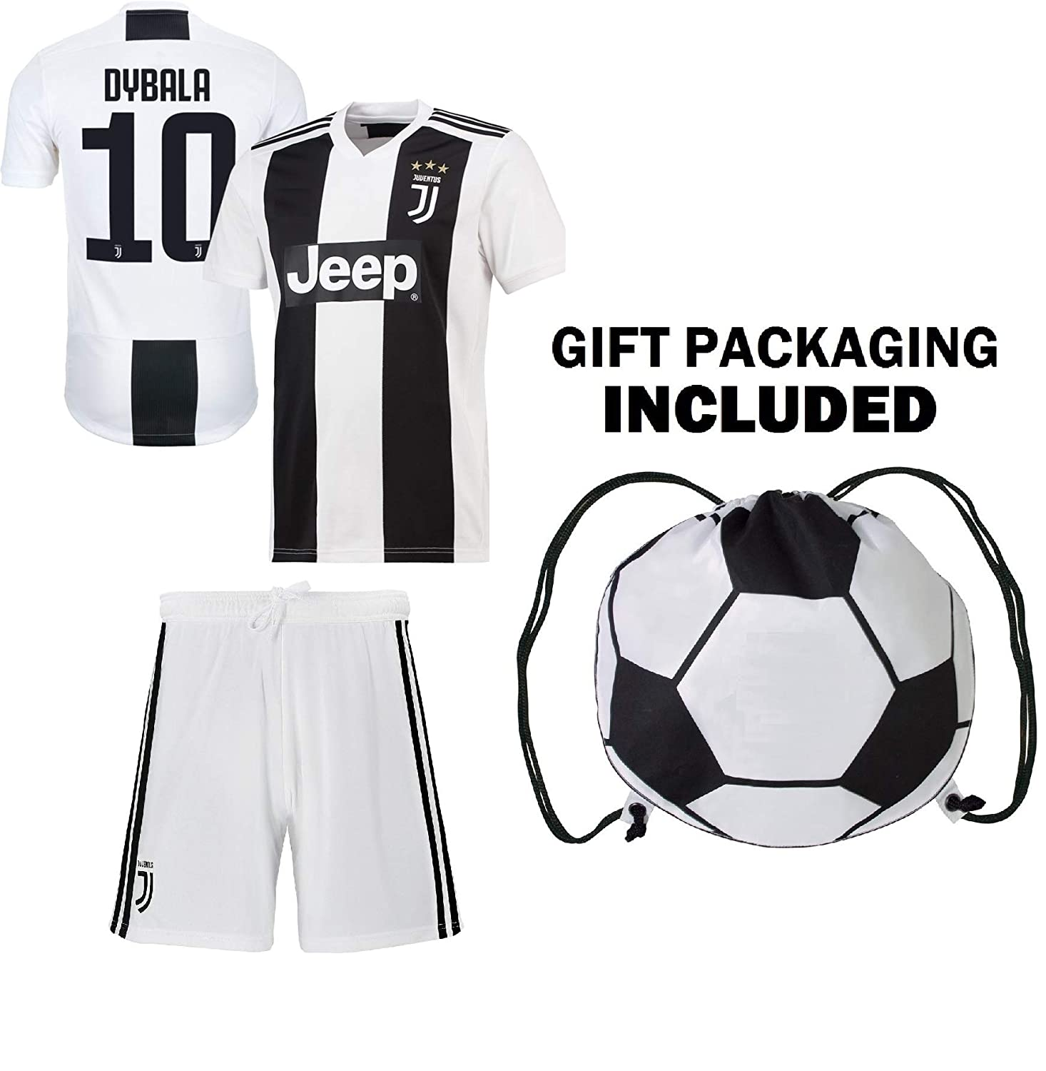 info for 5d5ca fc16f Dybala Juventus Home Youth Soccer Jersey & Shorts & Kit Bag Great Gift for  Kids Boys Girls Football Jersey Juve Dybala #10