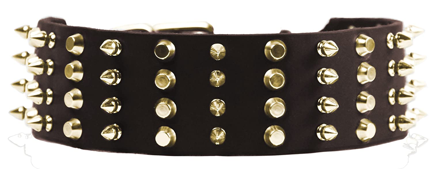 Dean and Tyler 4 ROW COMBO , Extra Wide Dog Collar with Brass Spikes and Studs Brown Size 24-Inch by 2-1 4-Inch Fits Neck 22-Inch to 26-Inch