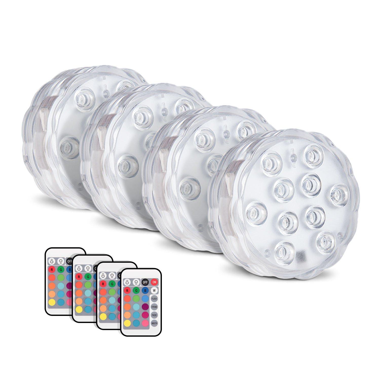 Deyard Lumières submersibles LED pour bassin. Luminaires étanches, résistants à l'eau, contrôlés par une télécommande sans fil et alimentés avec des piles. Changent de couleur. Pack de 4. Lumières pour le jardin, Halloween, Noël, pour les Aquariums. Décor