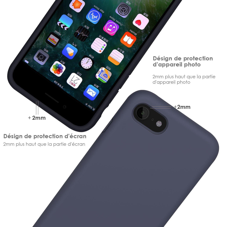 Coque iPhone 7 / 8 , JASBON Coque Silicone Liquide Anti-rayure avec Protecteur d\'écran Gratuit, Housse Protection Silicone Anti-choc Gel Case pour iPhone 7 / 8 – Bleu Foncé