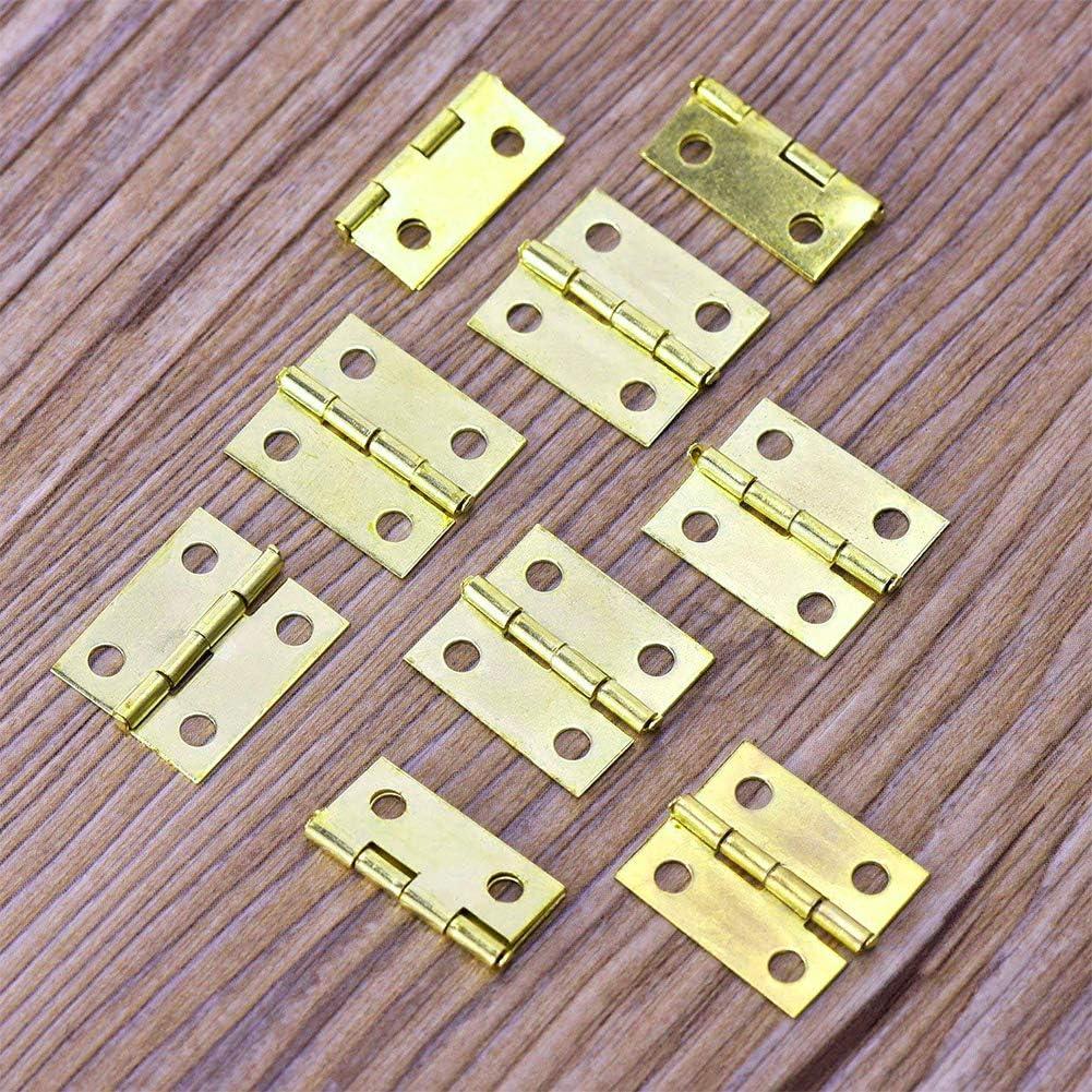 100 mini bisagras de lat/ón con 240 tornillos para miniatura gabinete o caj/ón muebles