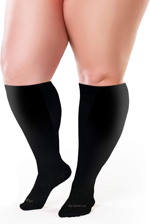 Flights Nurses Edema Graduated Premium Bamboo Leggings Knee-High Closed Toe Support Stockings for Swelling BAMS Plus Size Compression Socks Wide Calf XXL XXXL Seniors Pain DVT Unisex