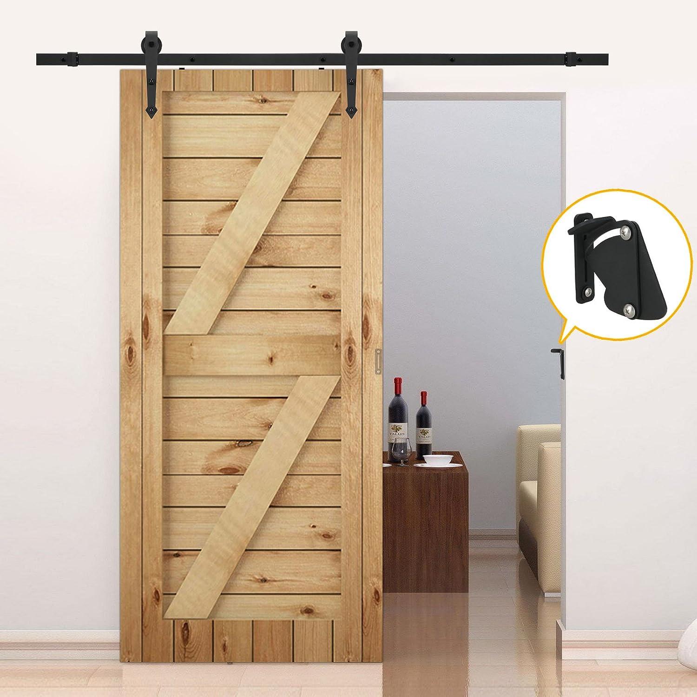 201,17 cm europeo acero negro armario puerta de granero Hardware pista de deslizamiento sistema Unidad con cerrojo para puerta: Amazon.es: Bricolaje y herramientas
