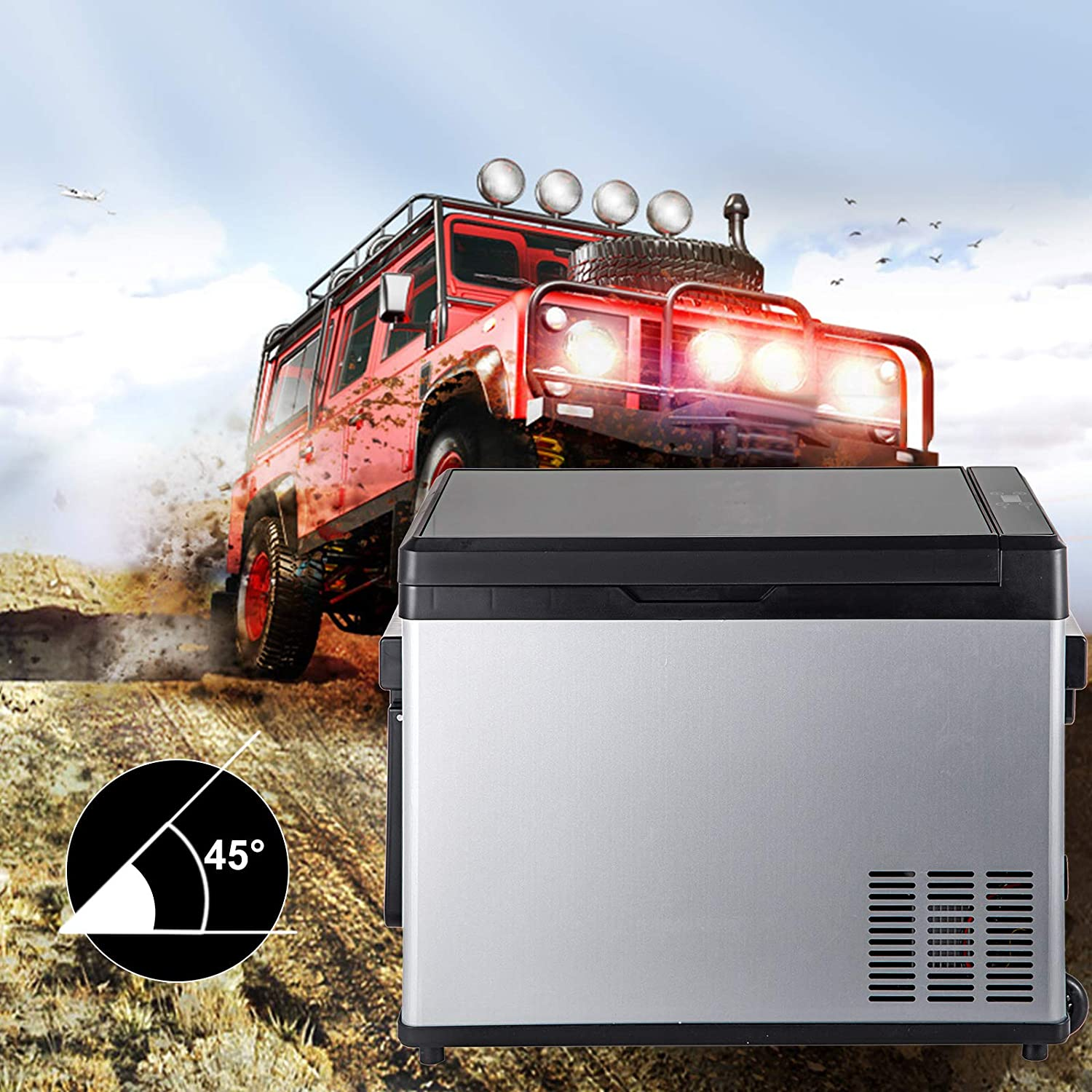 42 Quart Capacity Car Refrigerator,40W Camping Fridge with Compressor,Touch Screen for Leisure Tourism Fishing for Truck RV Camping Travel Outdoor Driving -13℉-68℉ VEVOR Car Freezer 12//24V