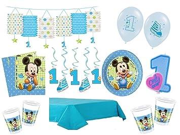 Xxl Party Deko Set 1 Geburtstag Mickey Baby Kindergeburtstag Fur 8