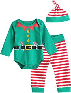 97ec22a0b6a Christmas Elf Outfit Set Baby Boy Girl Xmas Striped Bodysuit with Hat