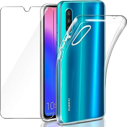 2X Lifeacc Cover per Huawei P30 Lite /& Pellicola Protettiva in Vetro Temperato Morbido Trasparente Silicone Cover Huawei P30 Lite