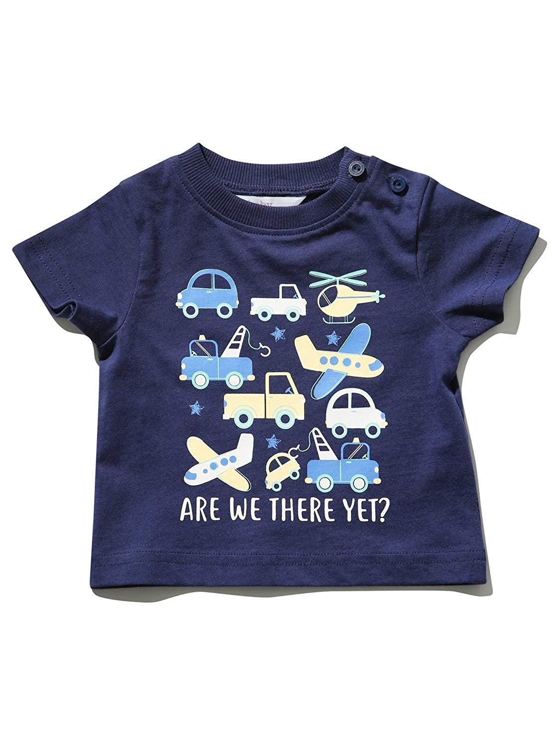 M/&Co Baby Boy are We There Yet Slogan T-Shirt with Short Sleeves