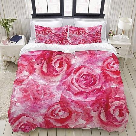 Copripiumino Matrimoniale Romantico.Jismuci Set Copripiumino Matrimoniale Fiore Dell Acquerello Rose