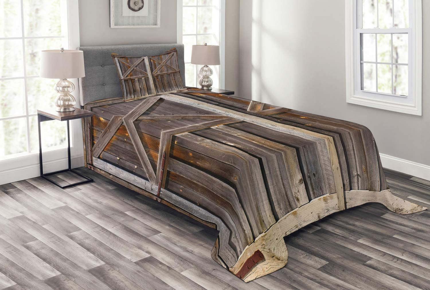 Ambesonne Rustic Bedspread, Old Wooden Barn Door of Farmhouse Oak Countryside Village Board Rural Life Photo Print, Decorative Quilted 2 Piece Coverlet Set with Pillow Sham, Twin Size, Brown