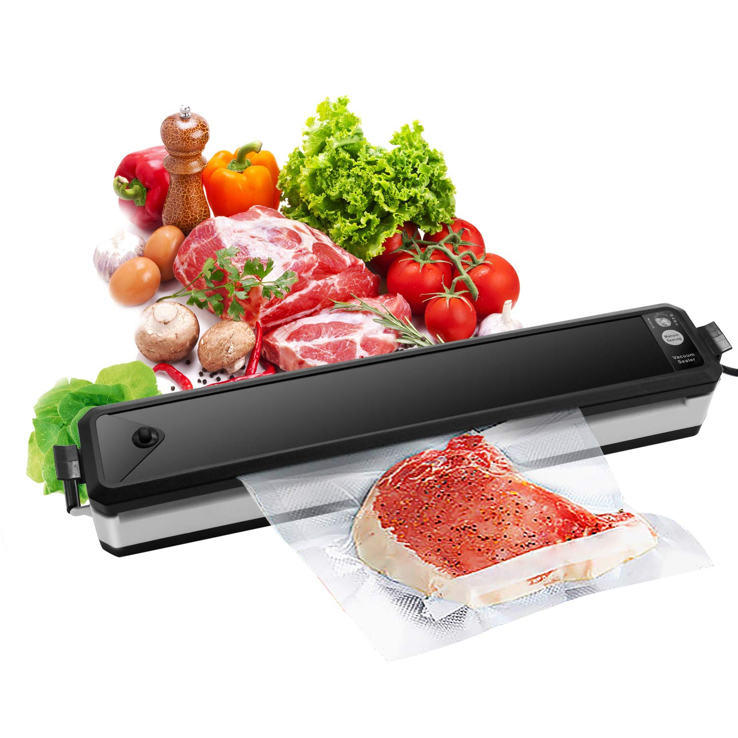 Vacuum Sealer, Sunvito Electric Automatic Food Sealer Machine with Premium Seal Bags for Meat, Eggs, Vegetables, Fruit Storage, Black
