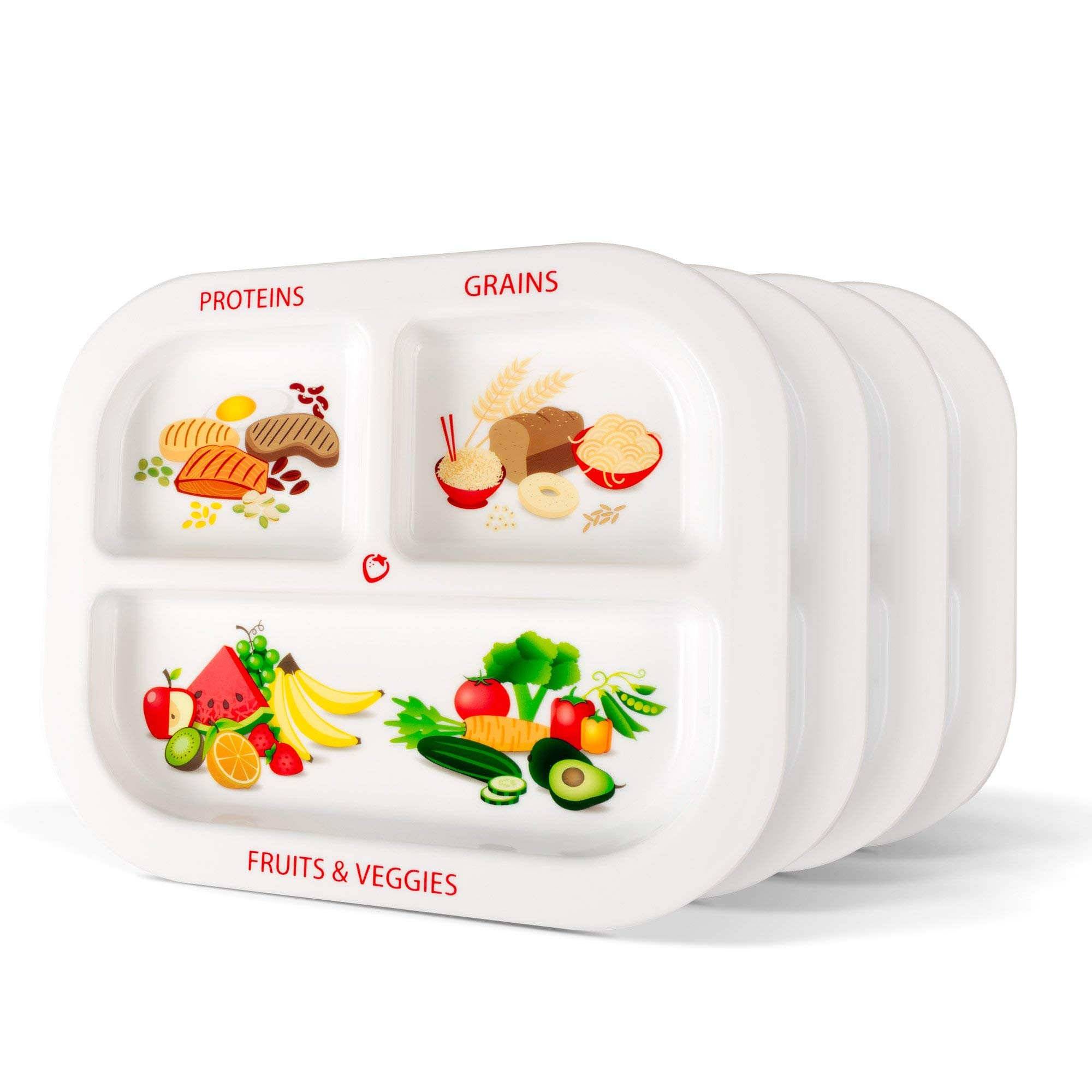 Healthy Habits Divided Kids Portion Plate 4-Pack, 3 Fun & Balanced Sections for Picky Eaters: Fruits & Veggies, Grains, and Protein by Super Healthy Kids