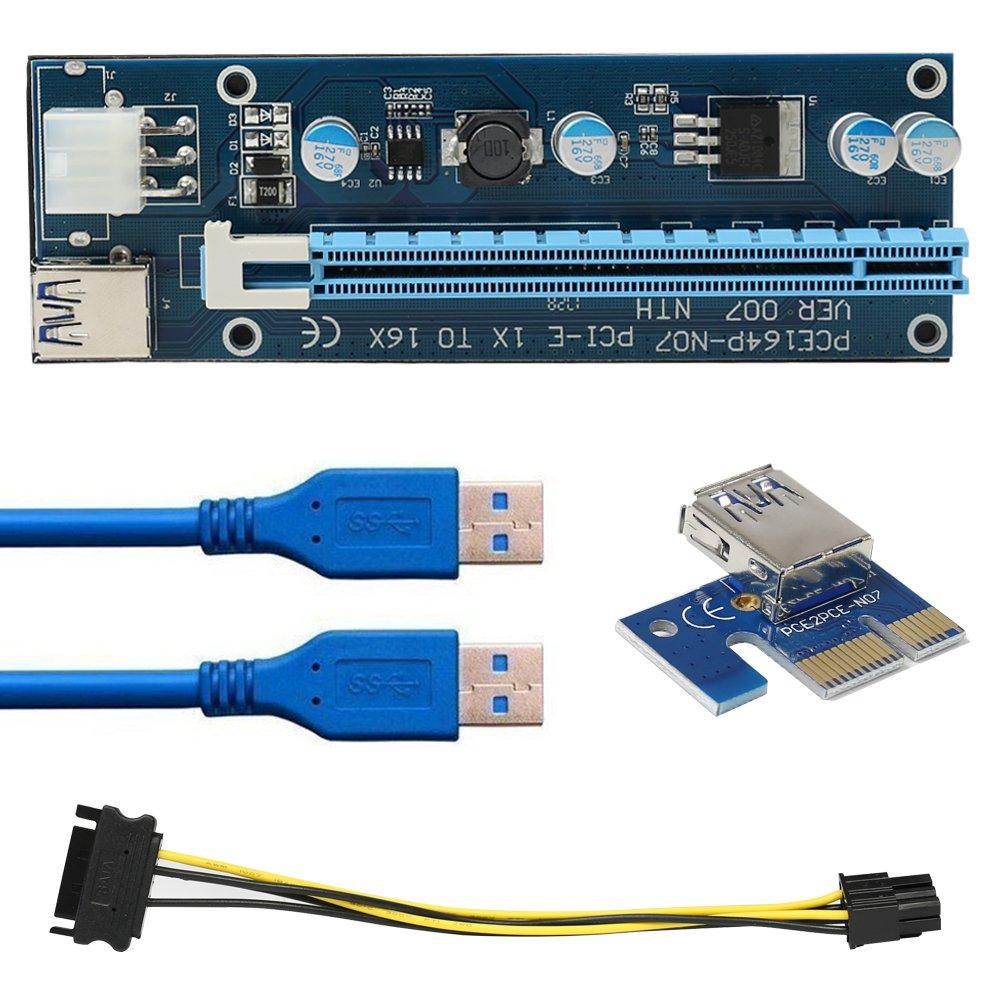 ¡¾ 6-Pack ¡¿volador ver 007PCI-E 1X a 16X Tarjeta Vertical con adaptador tarjeta–0, 6M USB 3.0cable de extensión ¨ C 6pin PCI-E a SATA cable de alimentación&n