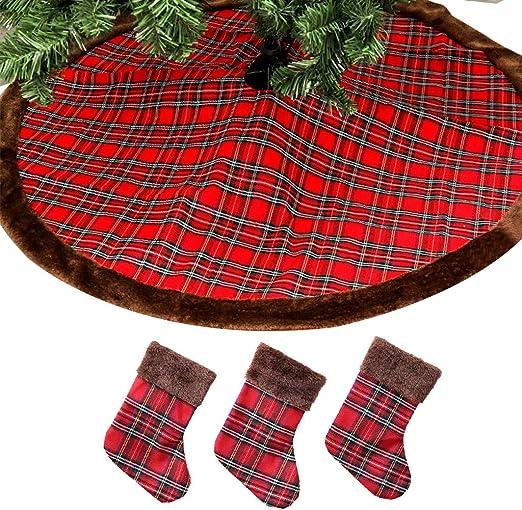 Hergon Falda de árbol de Navidad Buffalo con 3 Unidades de ...