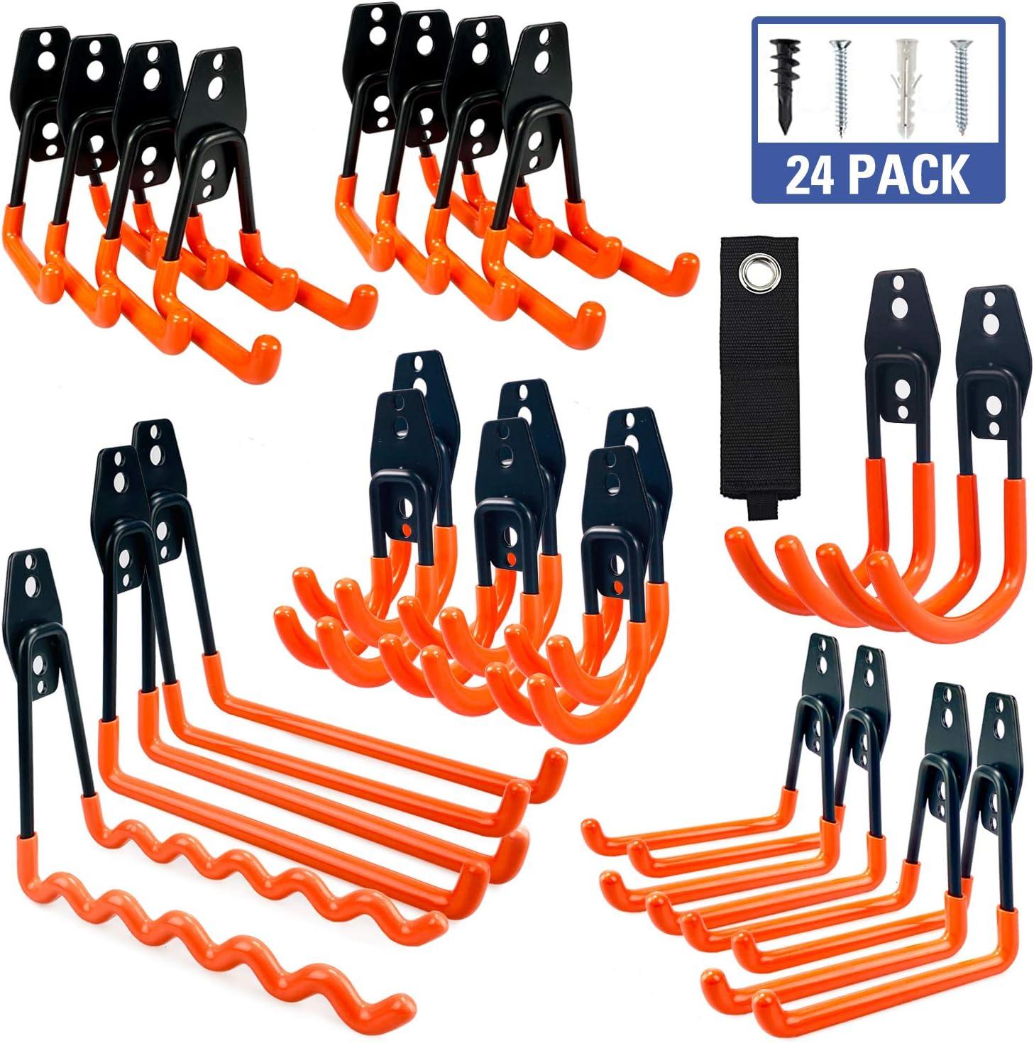 MARVOWARE Garage Storage Hooks, 24 Pack Steel Heavy Duty Organizer, Anti-Slip Double Wall Mount Holder, Utility Power Tool Hangers for Ladder, Garden Tools, Bike, Hoses, Ropes&Bulky Items Organization