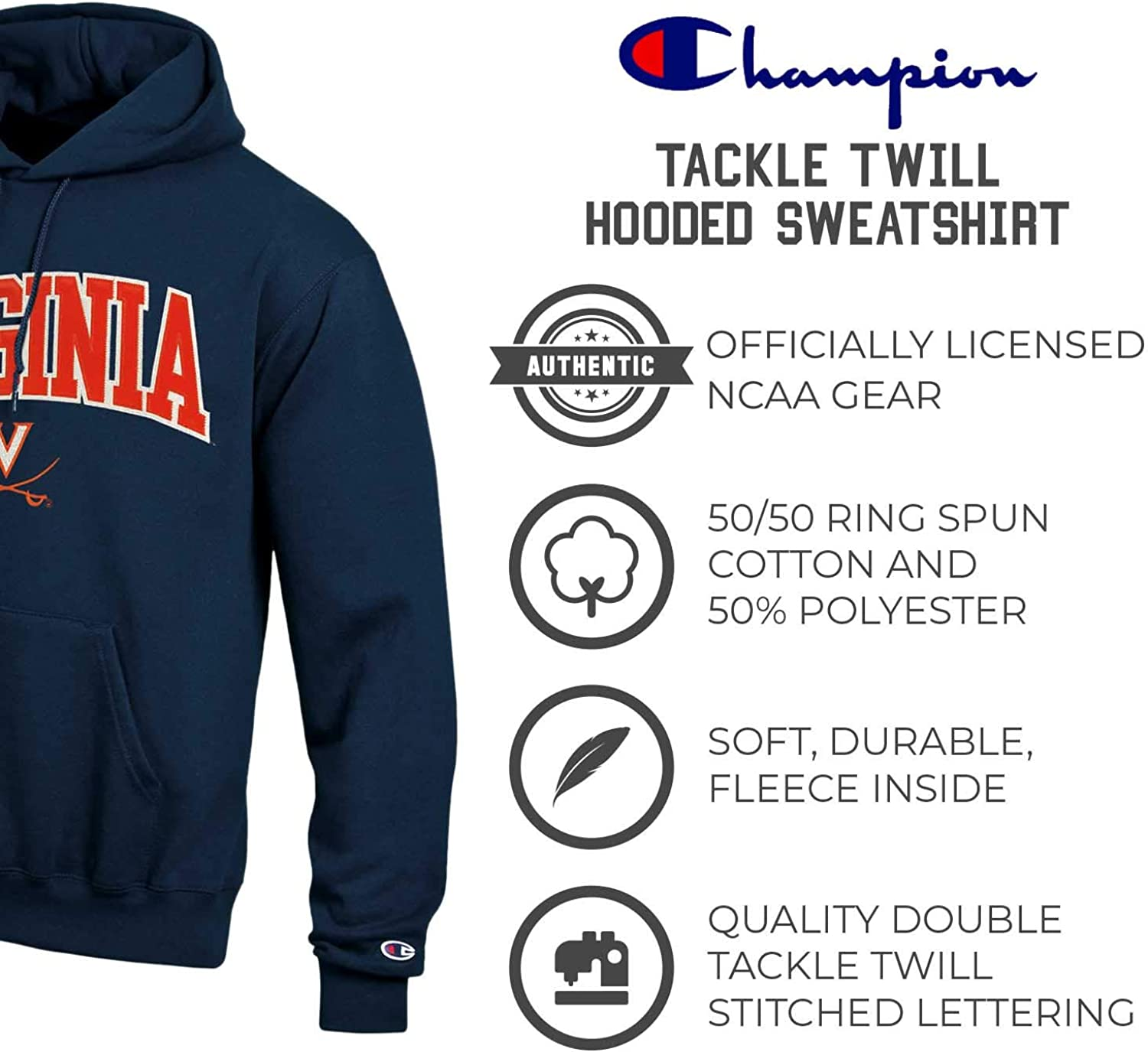 Officially Licensed Unisex NCAA Team Apparel Champion Adult Tackle ...