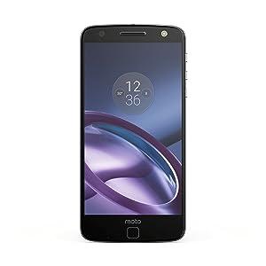 """Moto Z Unlocked Smartphone, 5.5"""" Quad HD screen, 64GB storage, 5.2mm thin - Lunar Grey - 64GB(U.S. Warranty)"""
