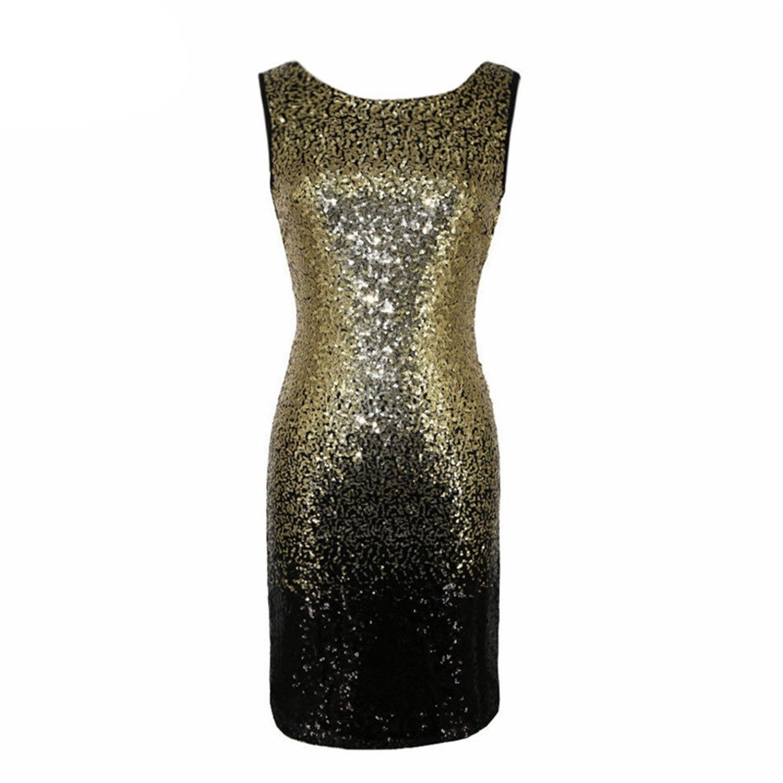 Amazon.com: Castjones Gold Sequin Dress Women Sexy Club Dresses 2018 Slim Fit Backless Bodycon Party Nightclub Mini Vintage Dress Vestido Lentejuelas Gold ...
