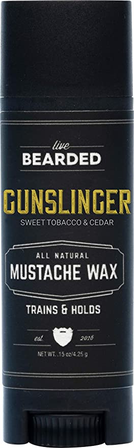 Live Bearded: Mustache Wax - Gunslinger - 1 Tube - Medium Hold - All-Natural Ingredients with Beeswax, Lanolin, Jojoba Oil and Essential Oils for Fragrance - Made in the USA