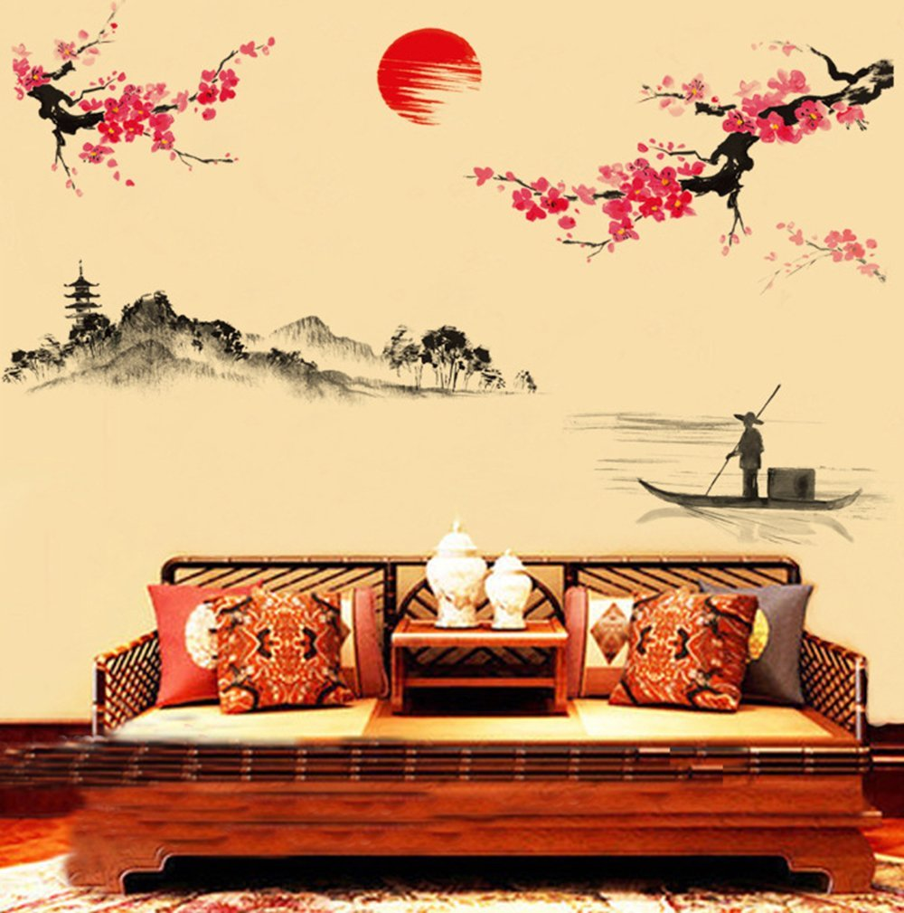 Amazon.com: ufengke home Chinese Inspired Painting Wall Art Stickers ...