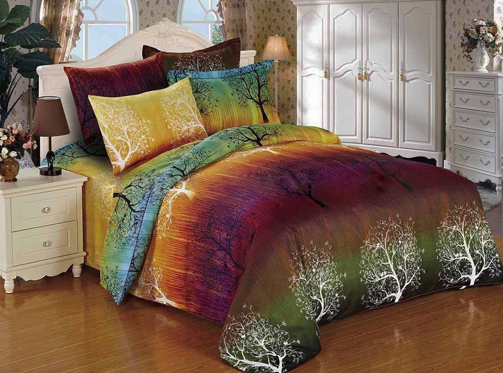 Rainbow Tree 3pc Duvet Cover Set: Duvet Cover and Two Matching Pillowcases (King